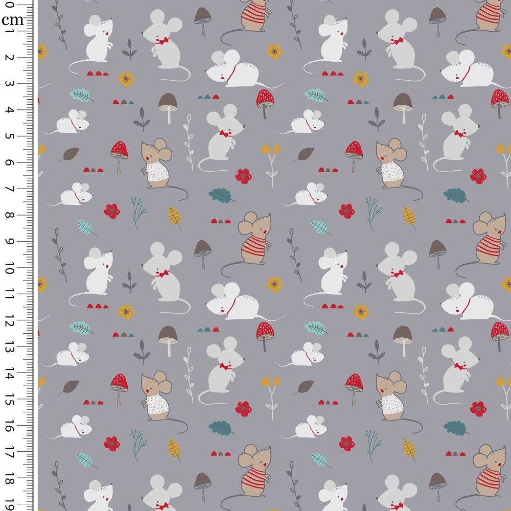 Little Mice on  Gray Cotton Lycra