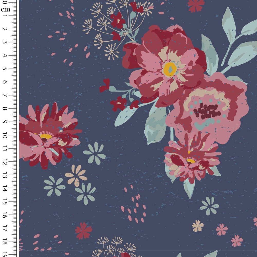 Romantic Flowers  on Navy Cotton Lycra
