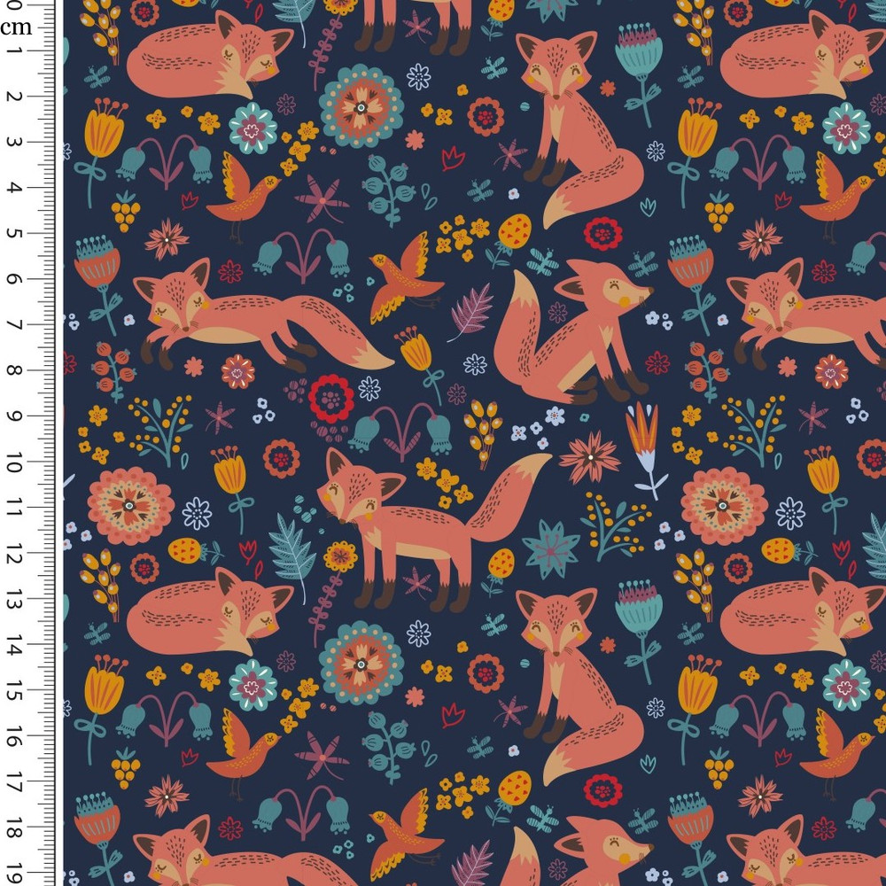 Foxes on Navy Brushed French Terry