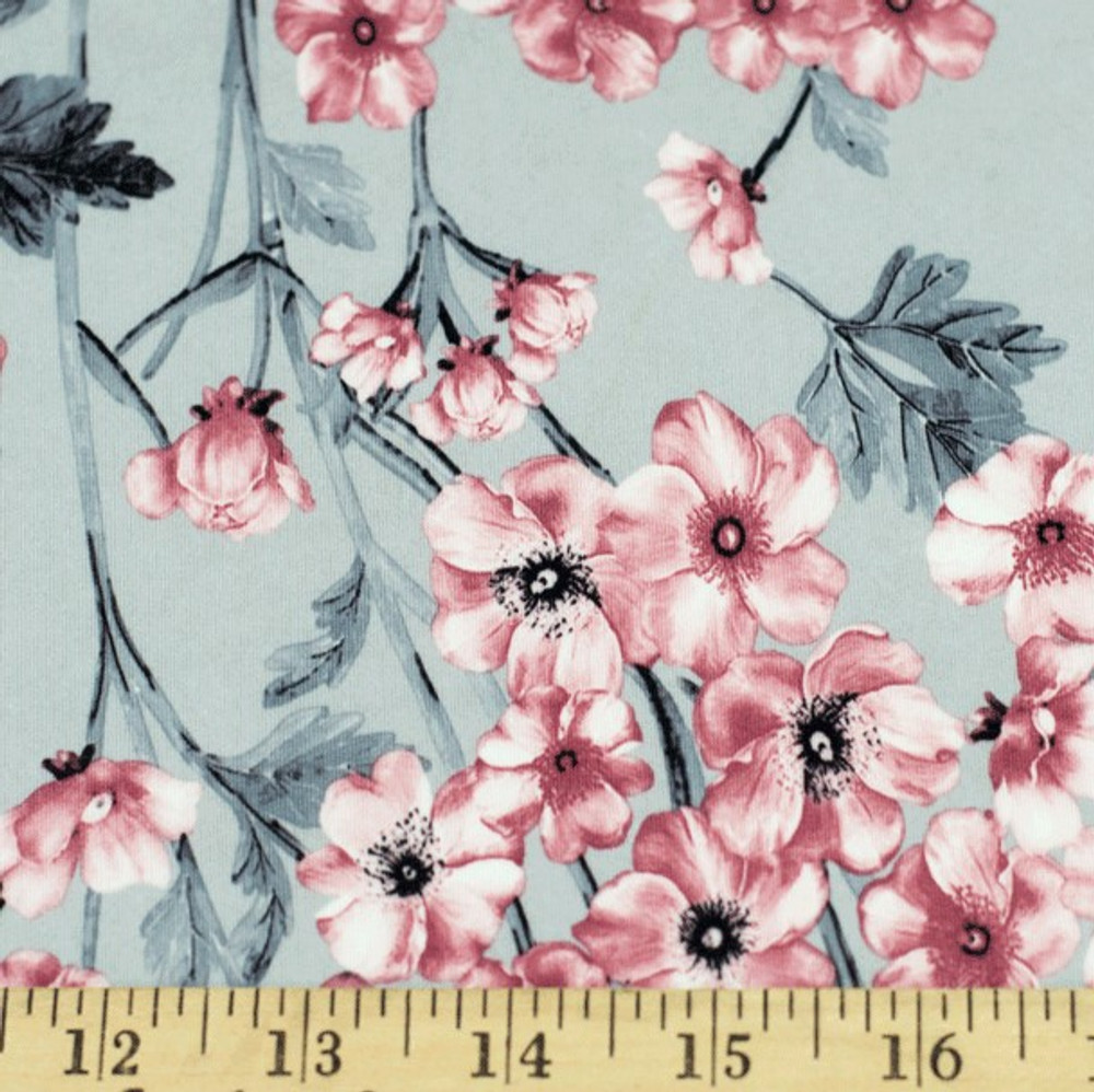 Gray and Mauve Floral Double Brushed Poly