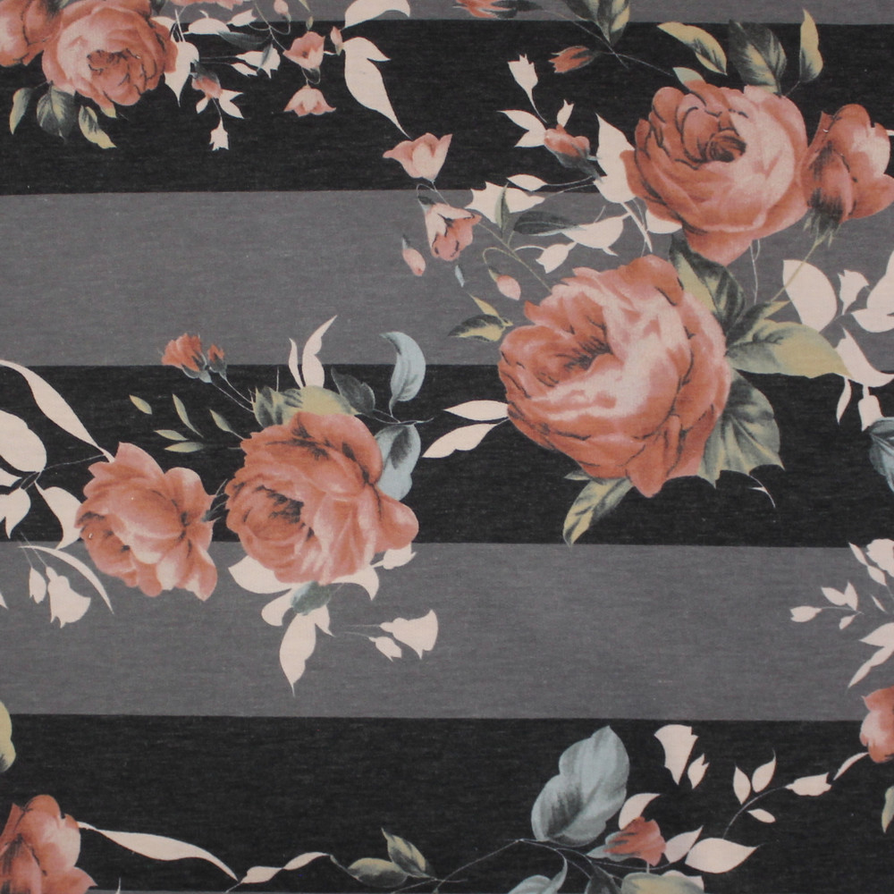 Dusty Roses on Gray Stripe French Terry Knit