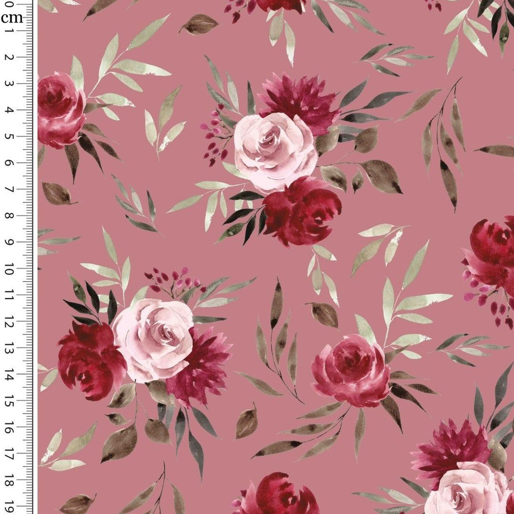 Roses on Mauve French Terry