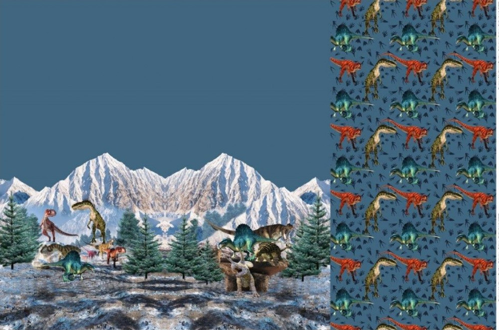 """Mountain Dinosaurs French Terry 39"""" Panel Set"""