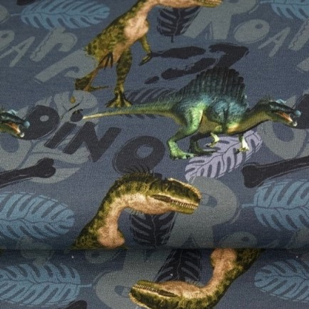Dinosaurs on Blue French Terry