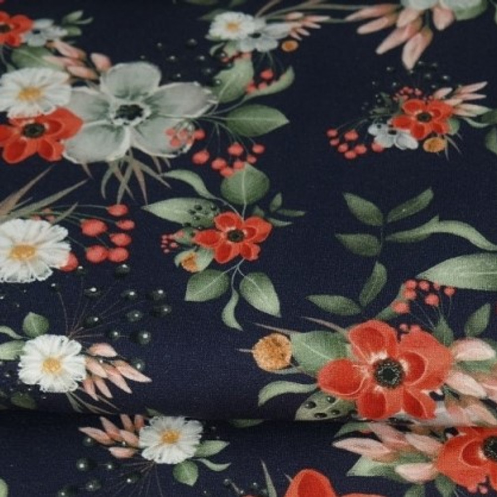 Flowers on Navy French Terry