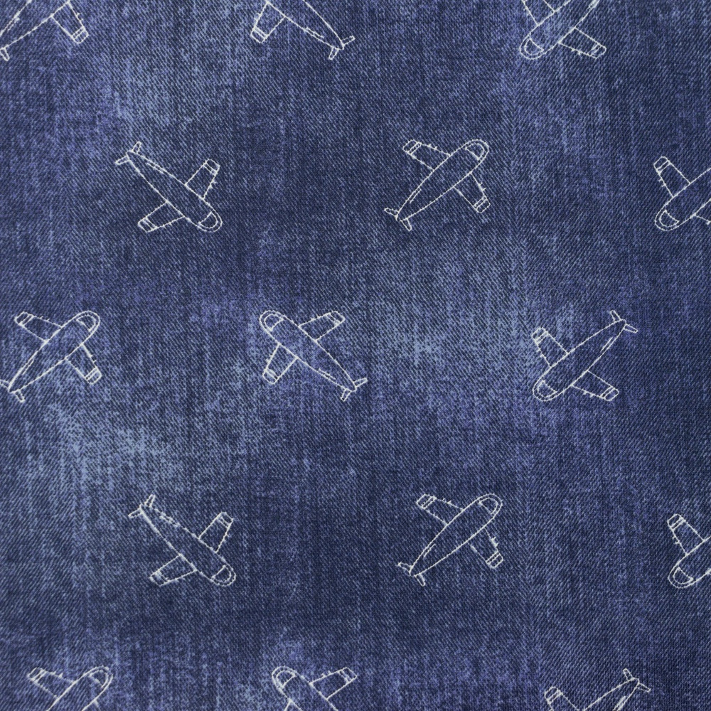 Airplanes on Denim Cotton Lycra