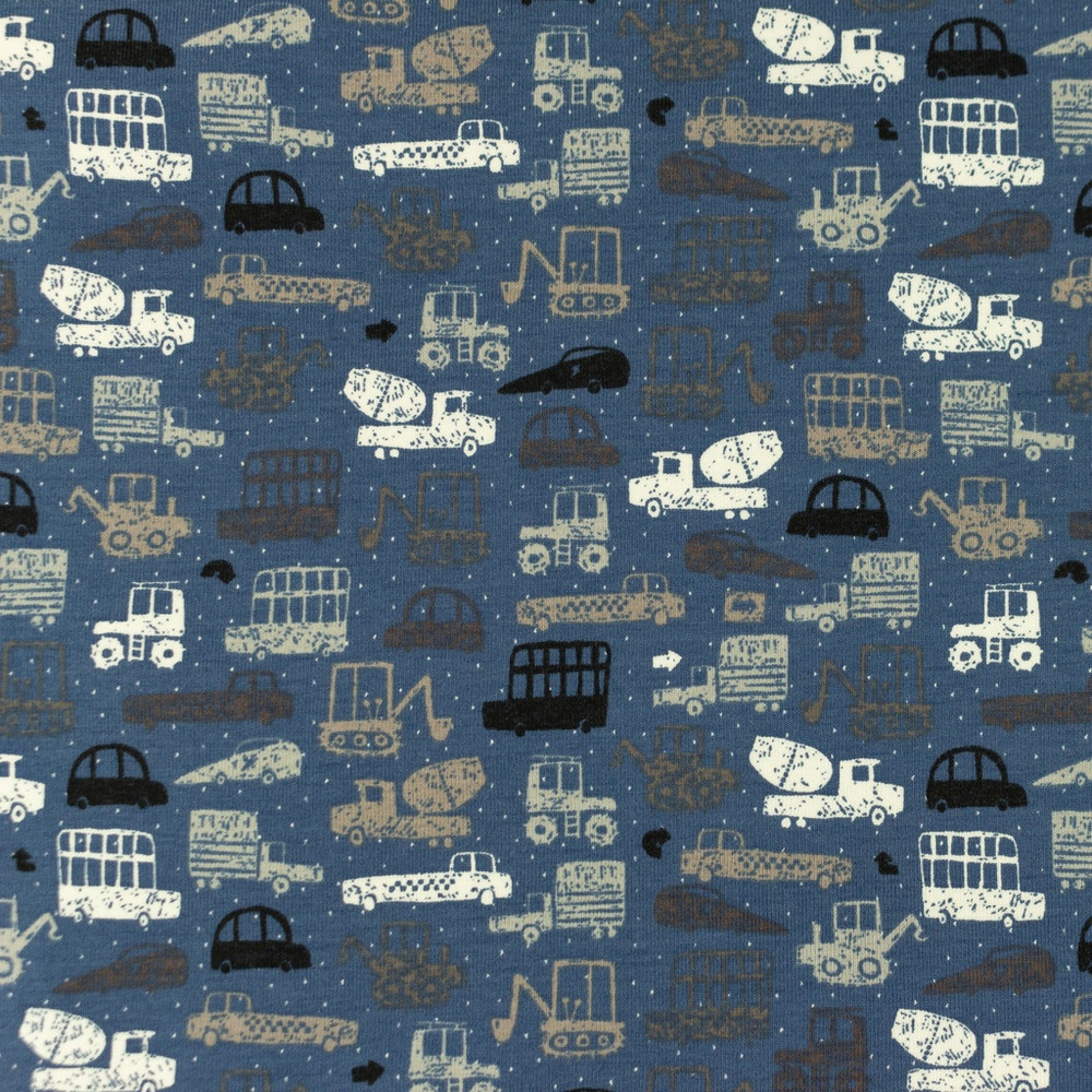 Construction Vehicles on Denim Cotton Lycra