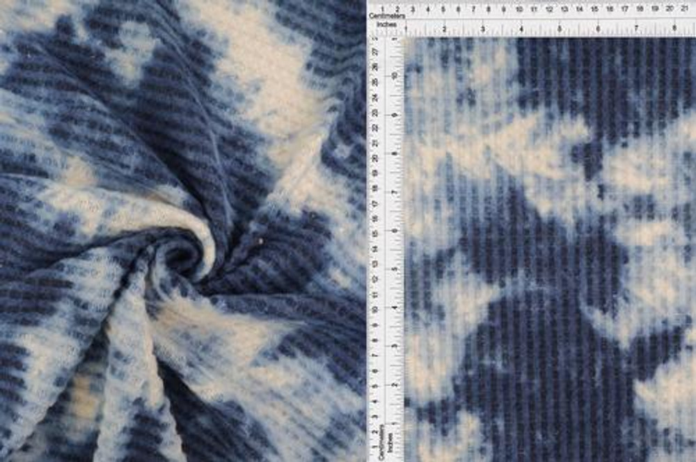 Navy Tie Dyed Brushed Waffle Knit