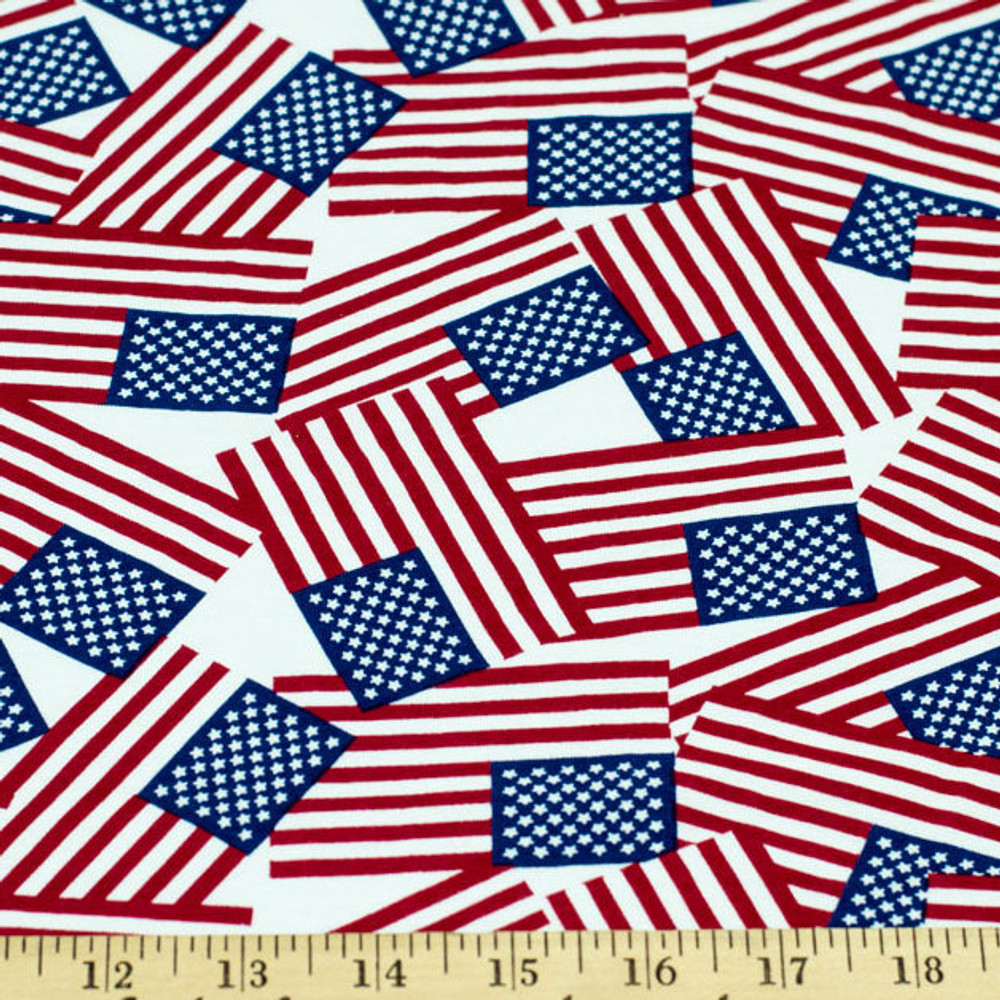 American Flag Red White Blue Cotton Lycra