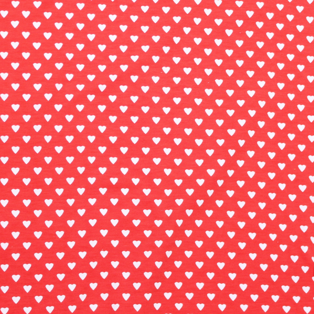 Mini Hearts on Red Cotton Poly Lycra