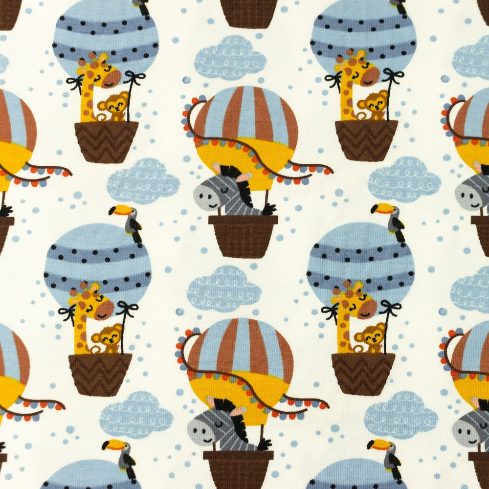 Hot Air Balloons with Animals on Cream Cotton Lycra