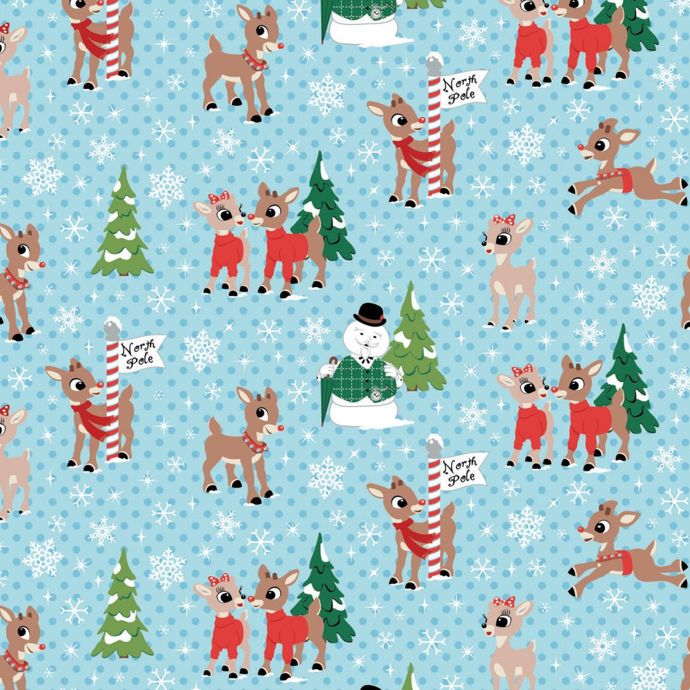 Rudolph and Friends on Blue Quilting Cotton