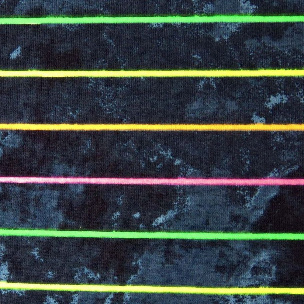 Neon Stripes on Dark Faux Denim Cotton Lycra