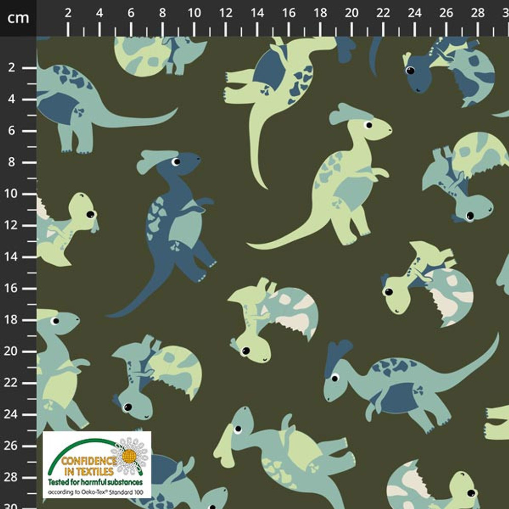 Stof Fabrics Dinosaurs on Green French Terry Knit