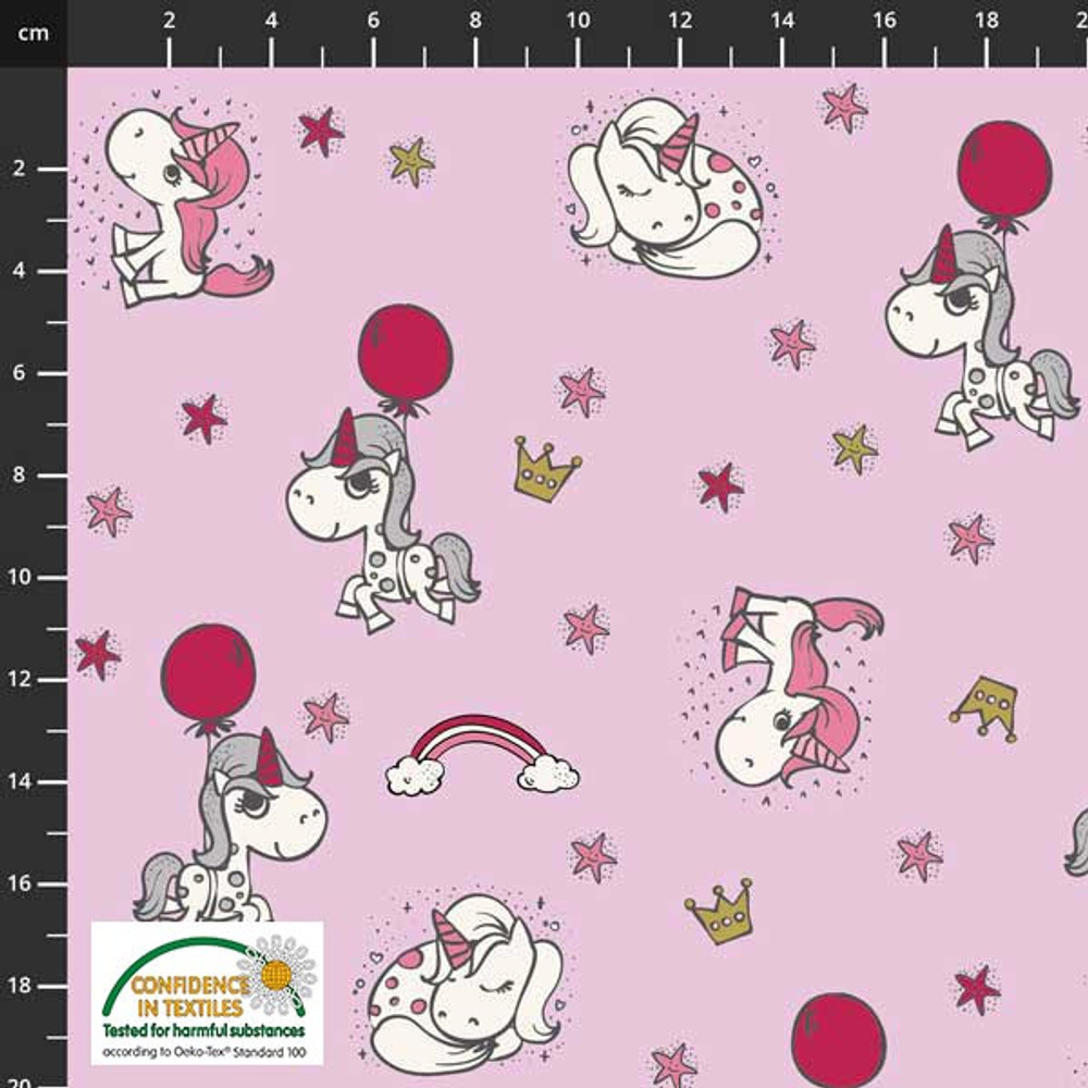 Stof Fabrics Unicorn Power on Pink Cotton Lycra Knit