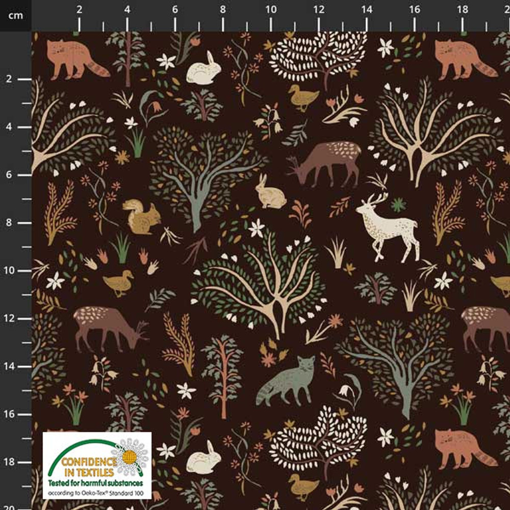 Stof Fabrics Woodland Animals on Brown Cotton Lycra Knit