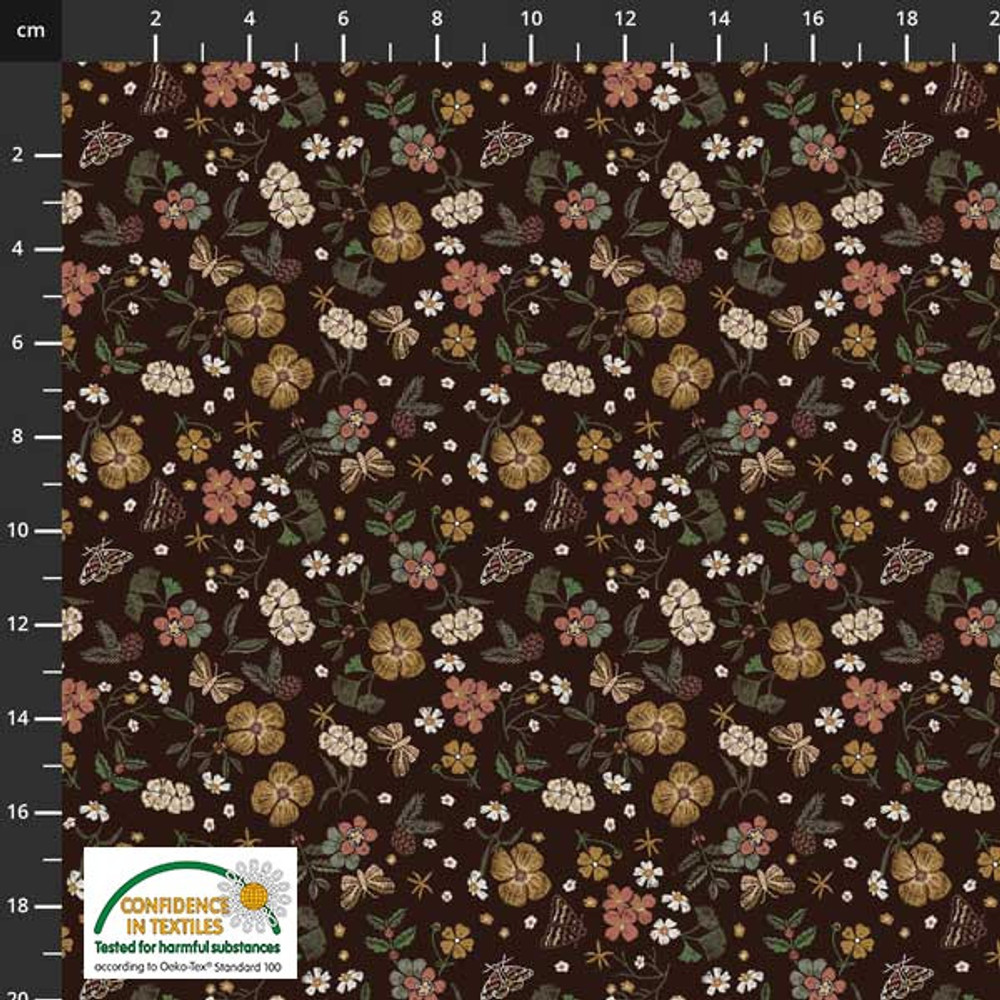 Stof Fabrics Woodland Floral on Brown Cotton Lycra Knit