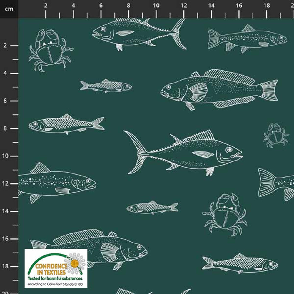 Stof Fabrics Fish Sketches Cotton Lycra Knit