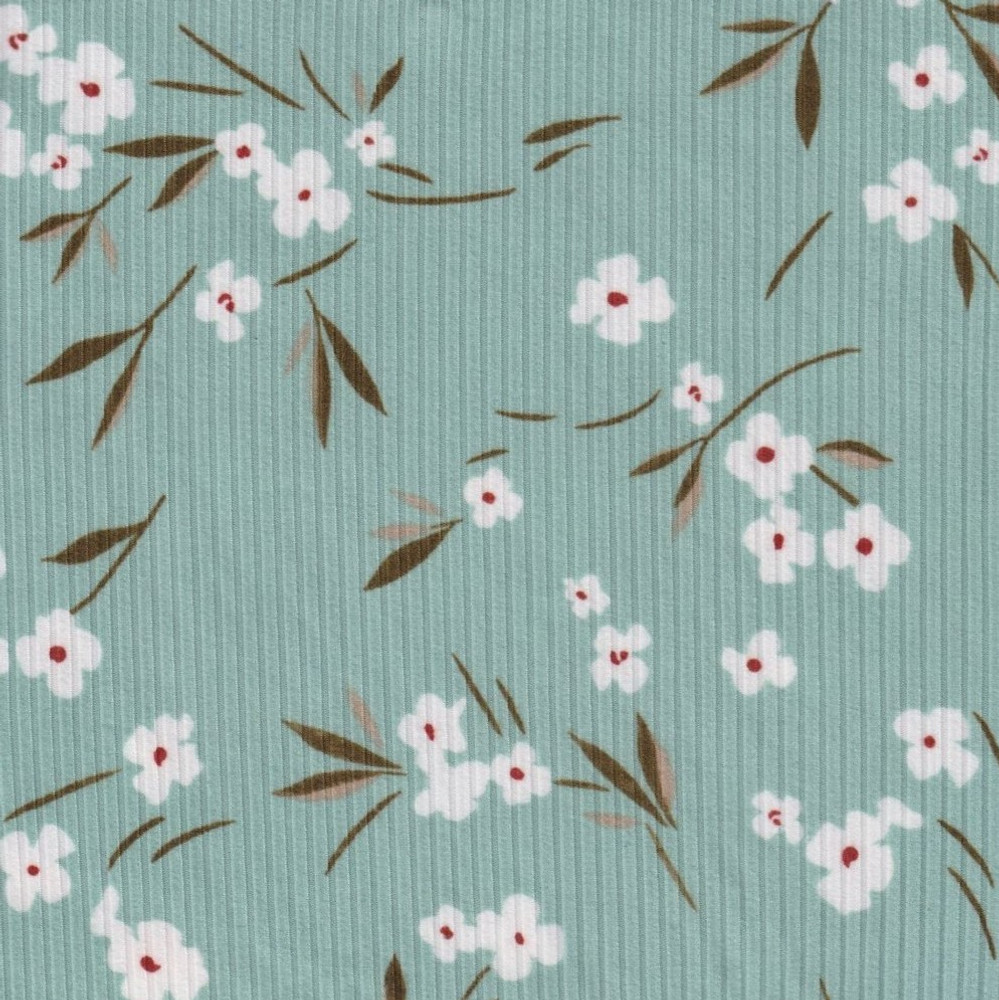 Lucy Floral on Mint Rib Knit