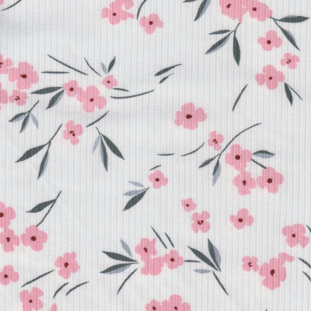Lucy Floral on Ivory Rib Knit