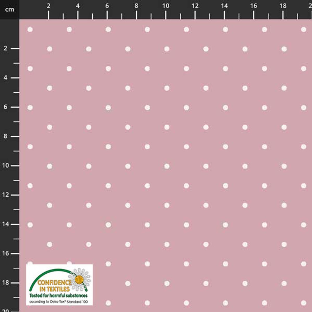 Stof Fabrics Polka Dots on Dusty Pink Cotton Lycra Knit