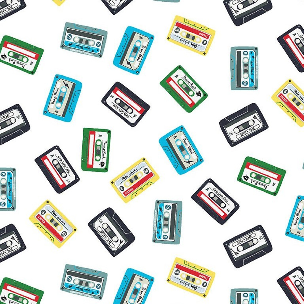 Dear Stella Cassette Tape Mix on White Quilting Cotton