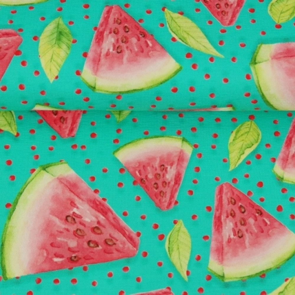 Watermelons on Teal Cotton Lycra