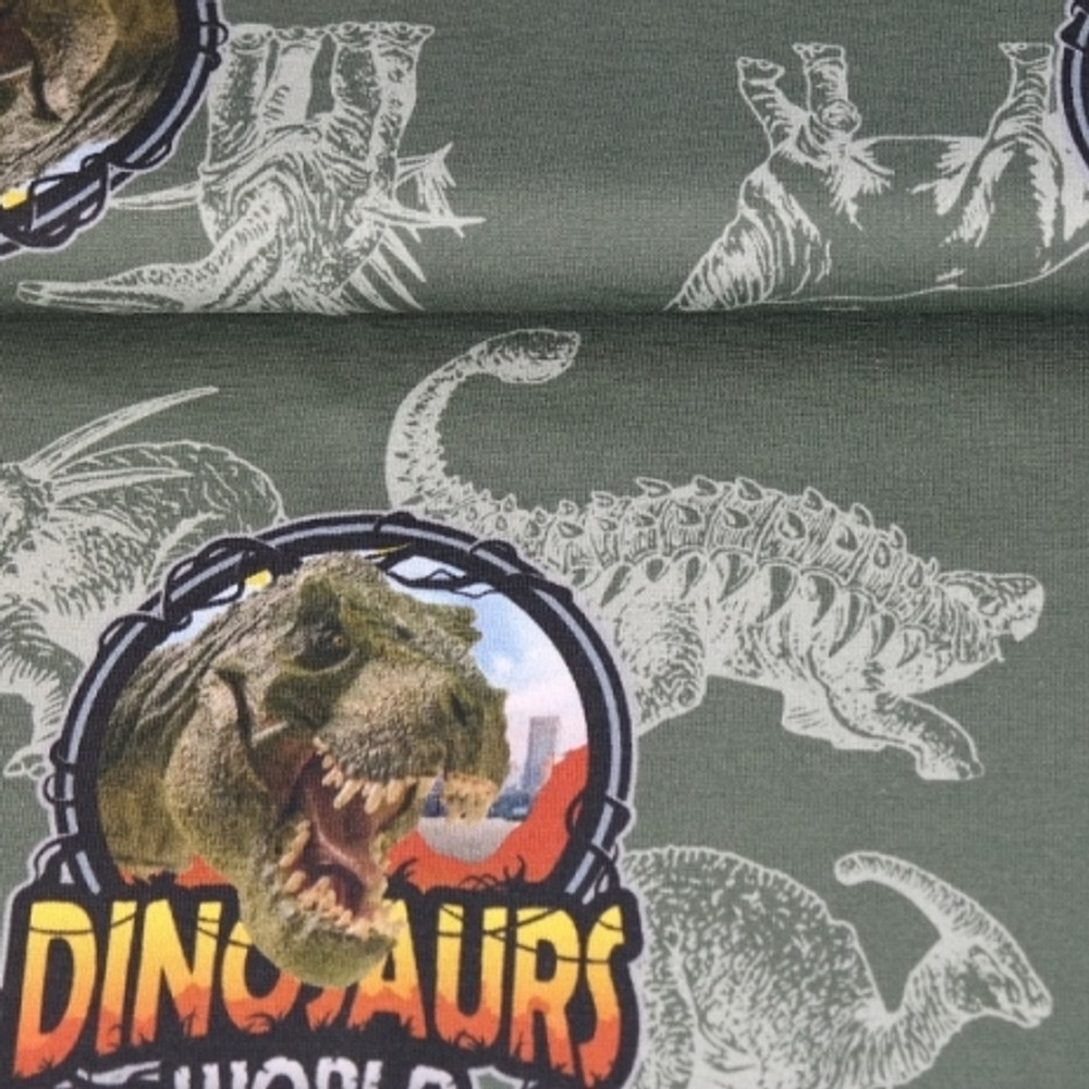 Dinosaur World on Green Cotton Lycra