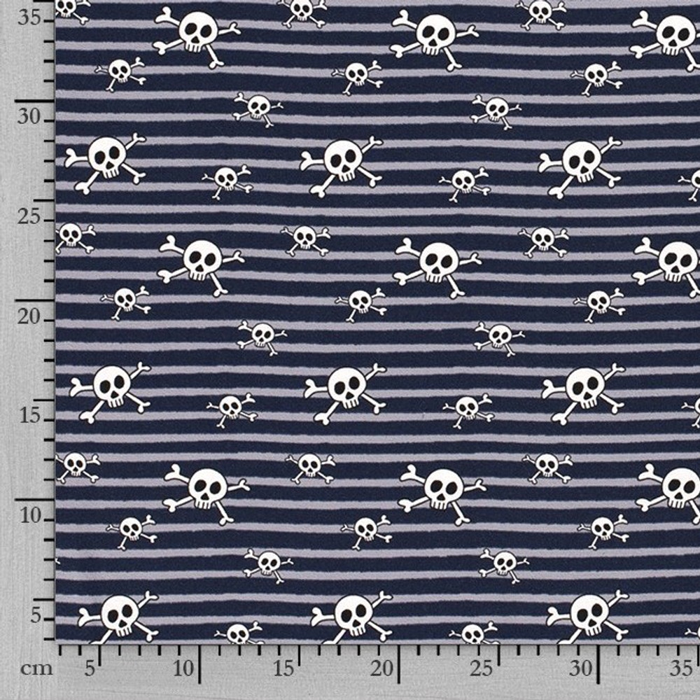 Pirate Skulls on Blue & Gray Stripe Cotton Lycra