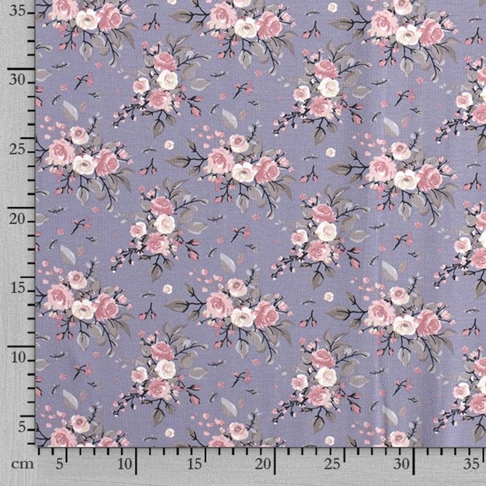 Adelaide Floral on Dusty Periwinkle Cotton Lycra