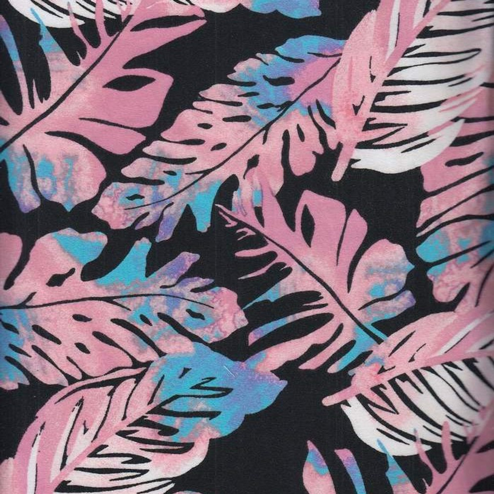 Tropical Leaves on Black Double Brushed Poly