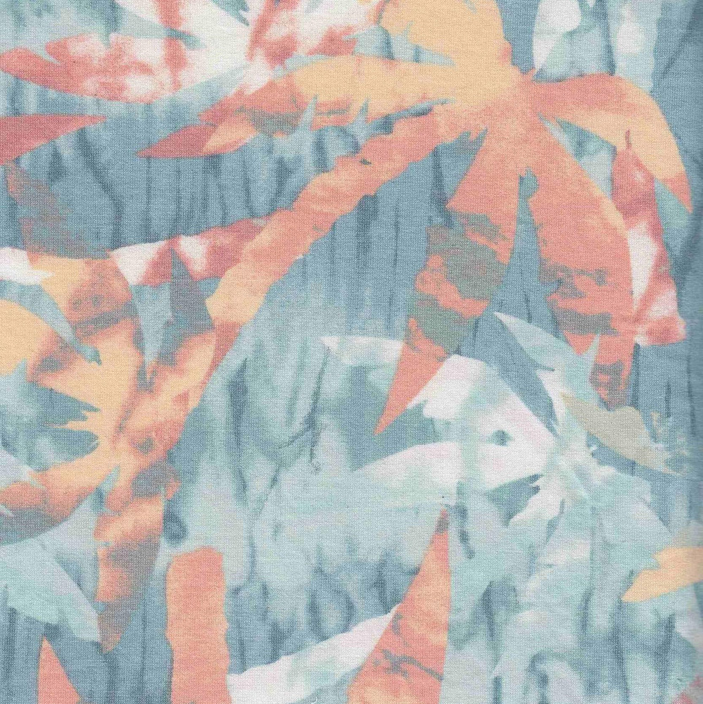 Tie Dye Palm Trees on French Terry Knit