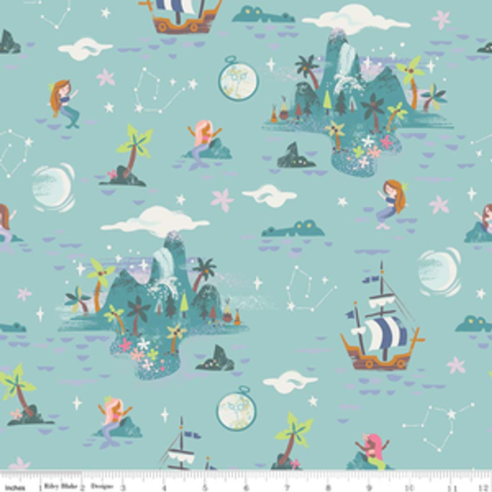 Riley Blake Neverland Island in Mint Quilting Cotton