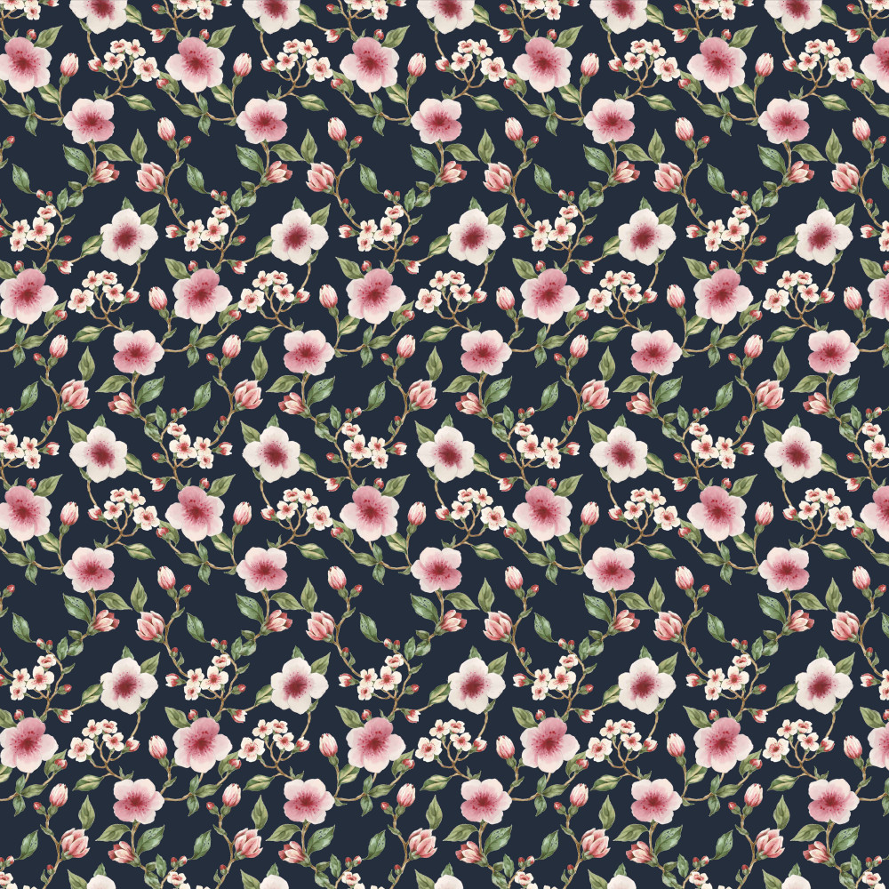 Ella Floral on Navy Organic French Terry