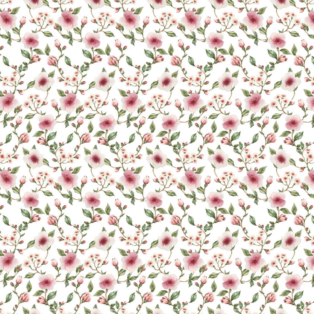 Ella Floral on White Organic French Terry