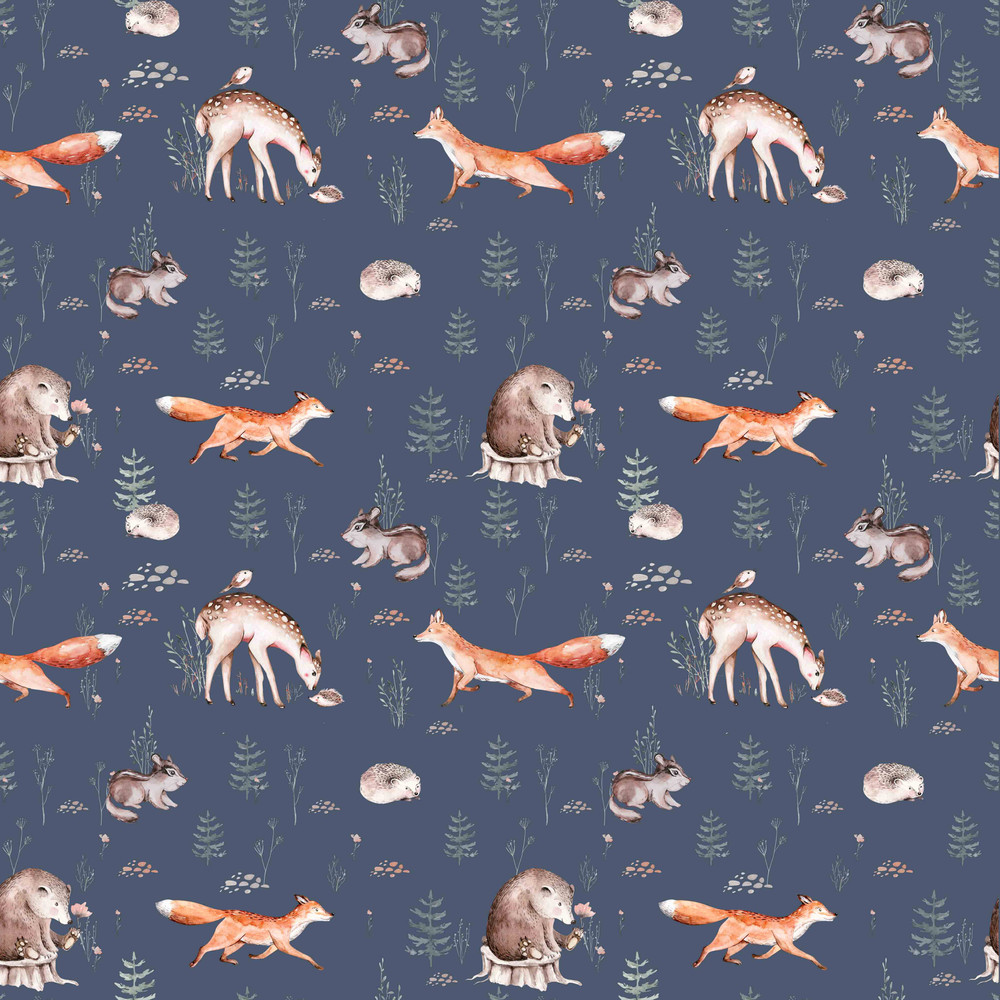 Wildlife on Blue Organic French Terry