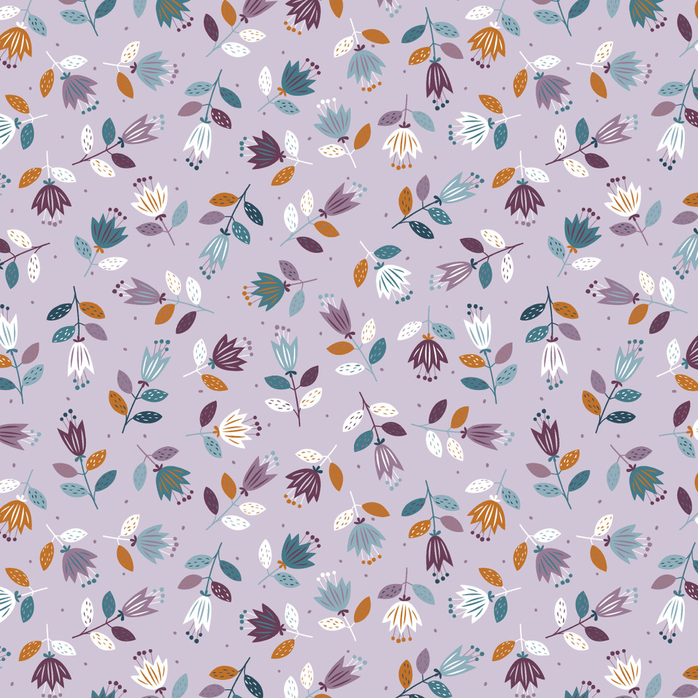 Scandinavian Floral on Lilac Organic French Terry