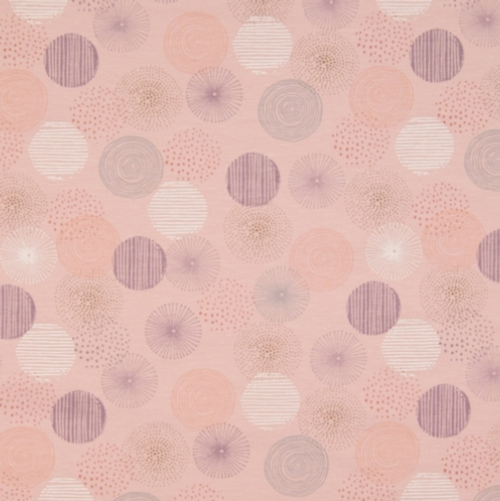 Graphic Dots on Dusty Pink Cotton Lycra Knit