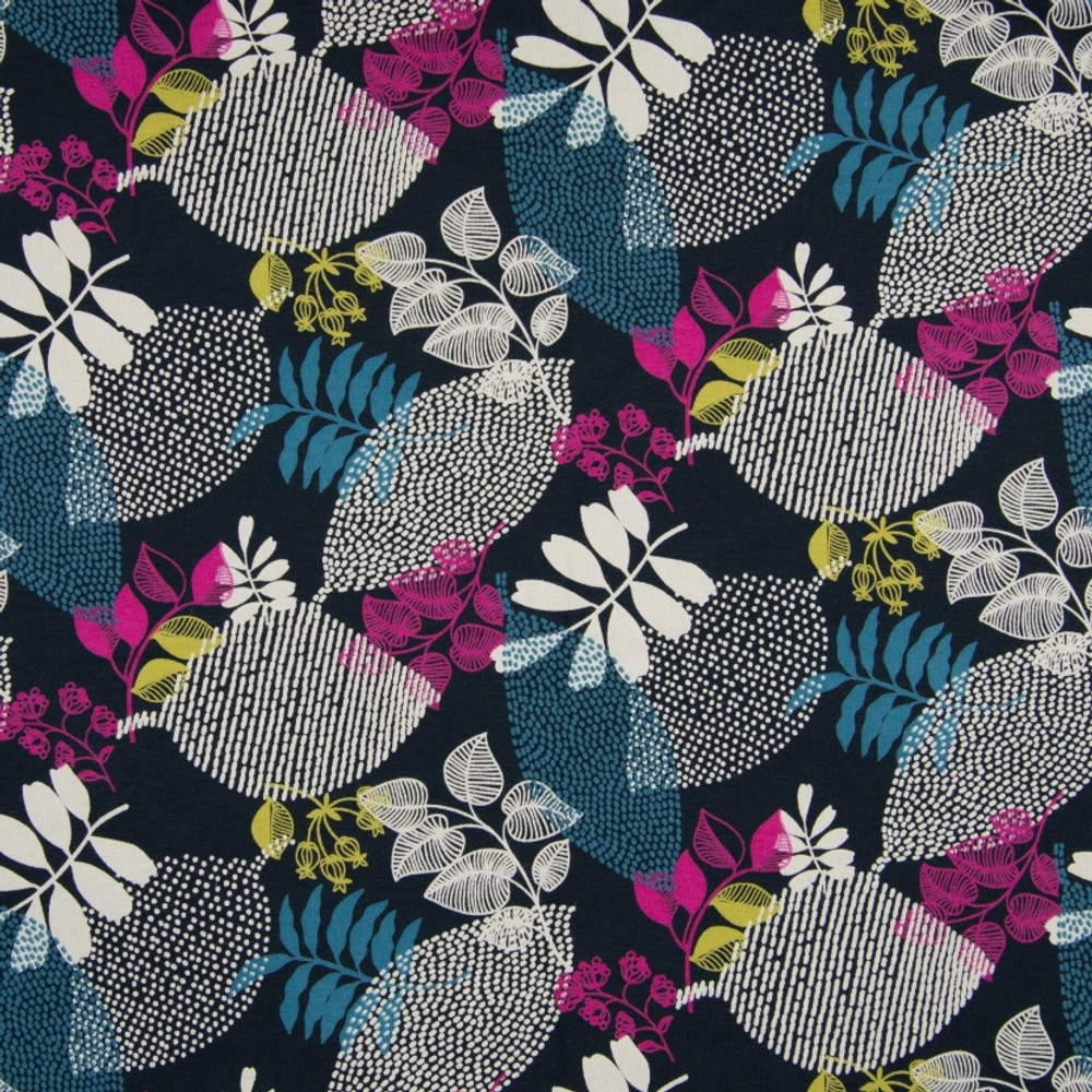 Leaves on Navy Organic Brushed French Terry