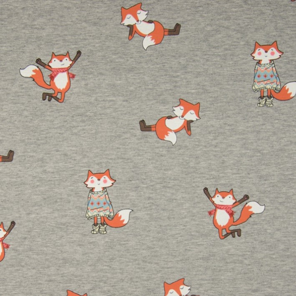 Foxes on Gray Brushed French Terry