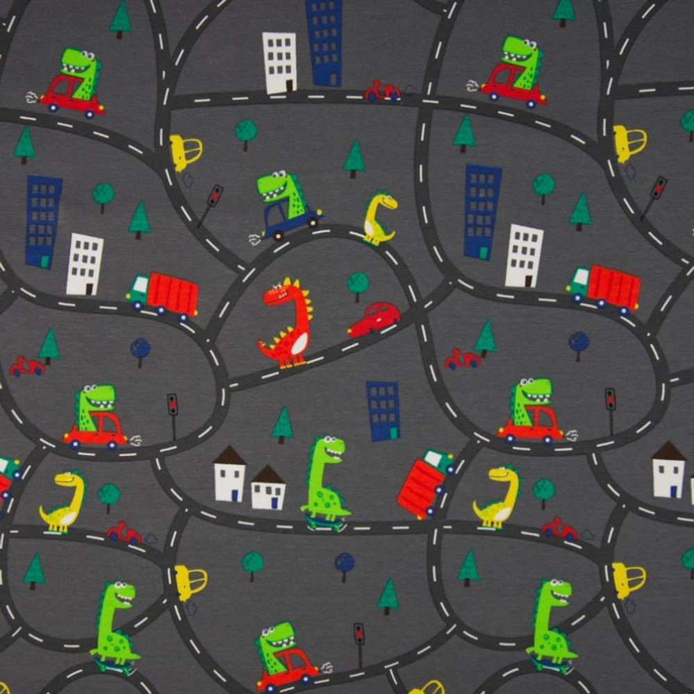 Driving Dinosaurs on Cotton Lycra Knit