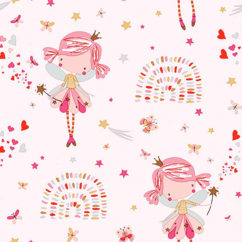 STOF France Fairies on Pink Cotton Lycra Knit