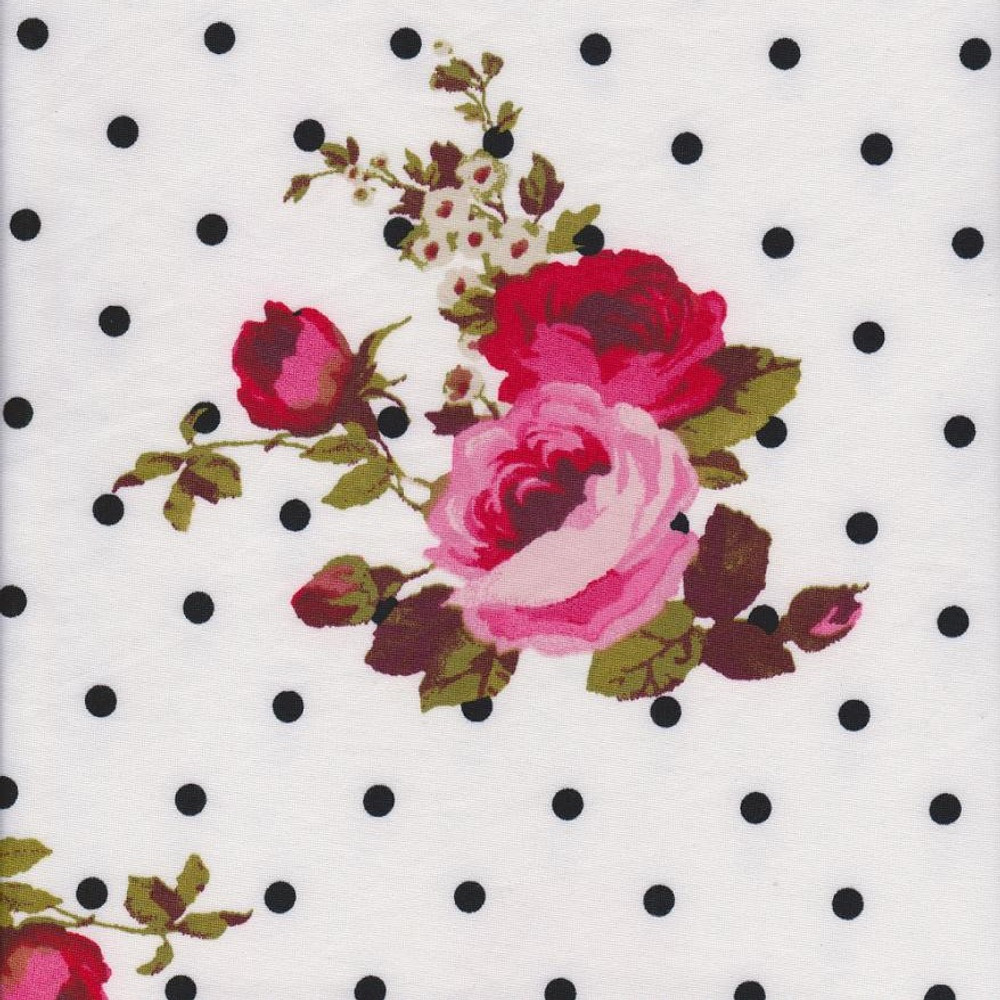 Roses and Polka Dots Double Brushed Poly