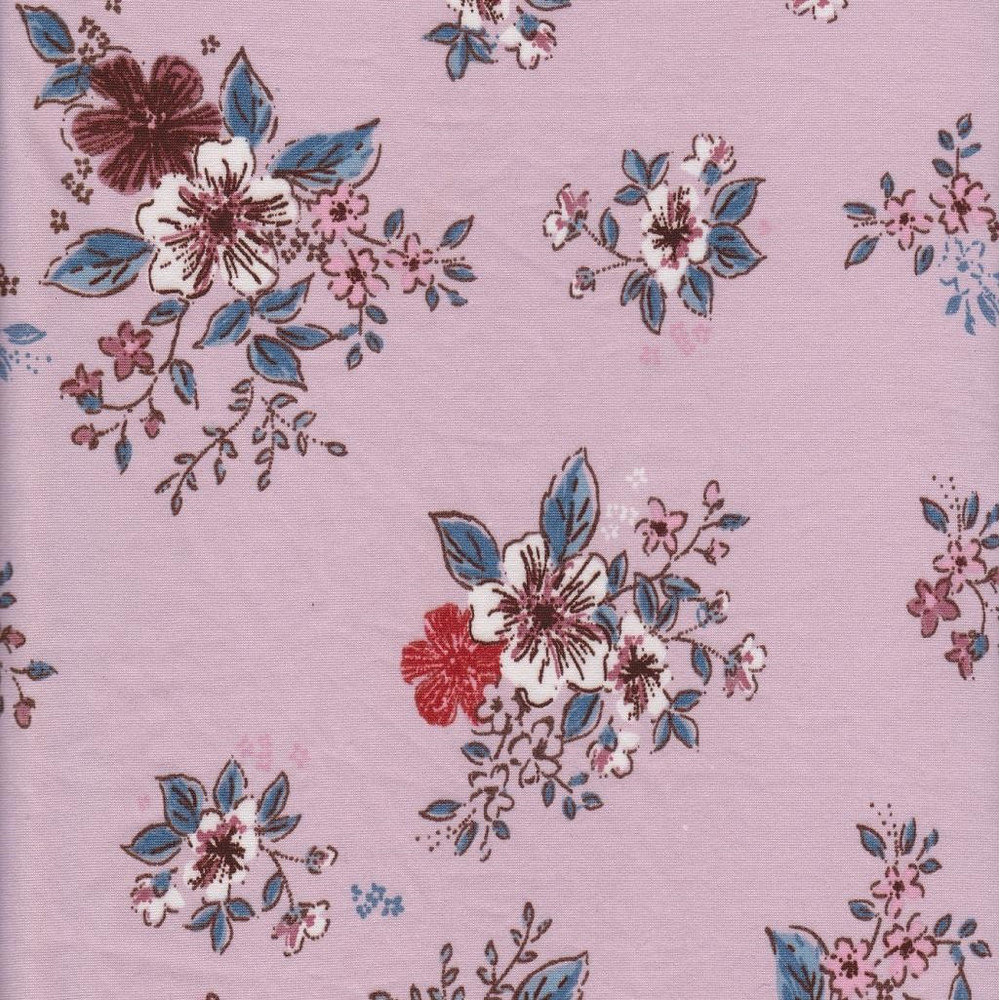 Courtney Floral on Mauve Double Brushed Poly