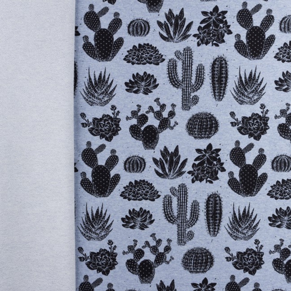 Cactus on Blue Melange Cotton Lycra French Terry