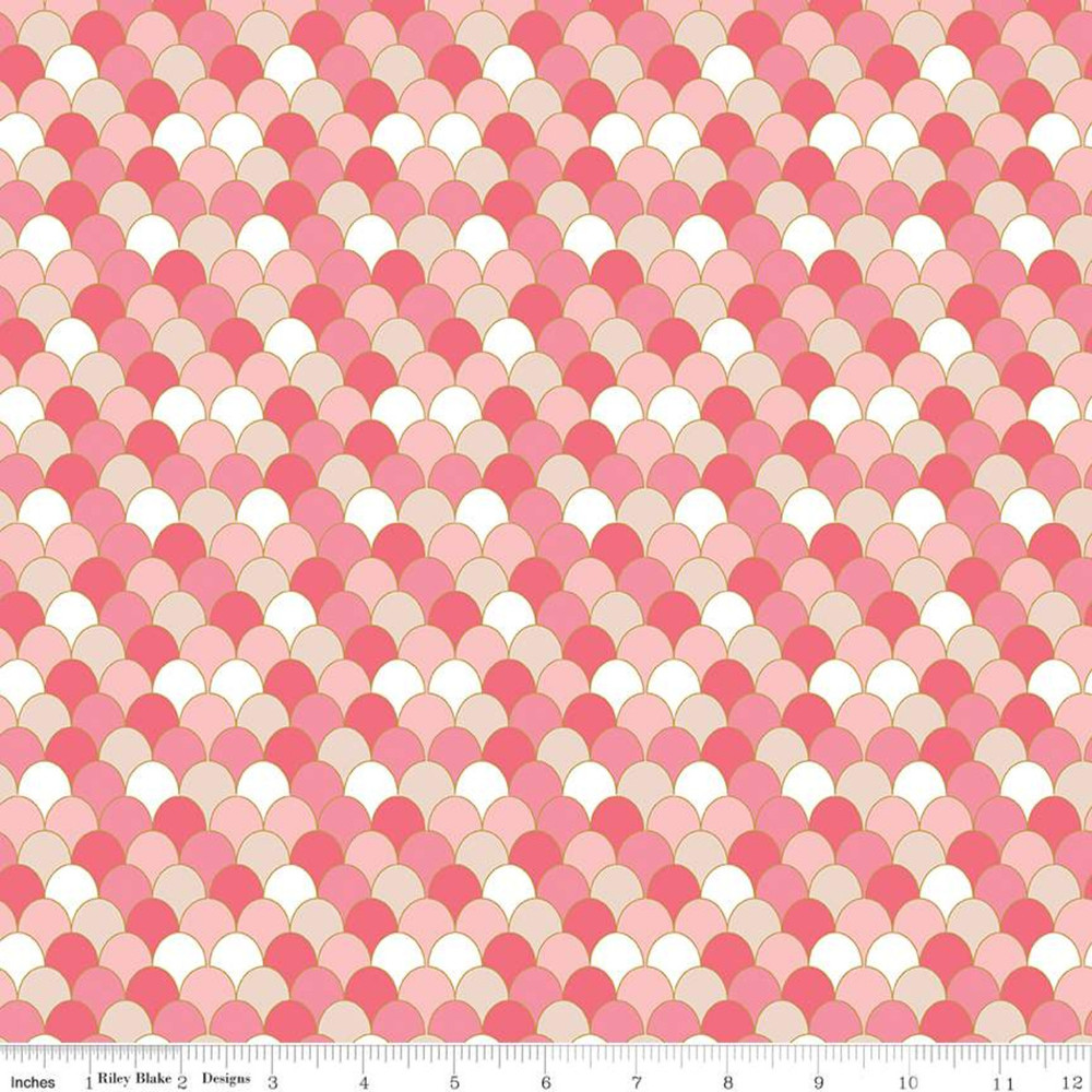 Riley Blake Ahoy Mermaids Scales Coral Quilting Cotton
