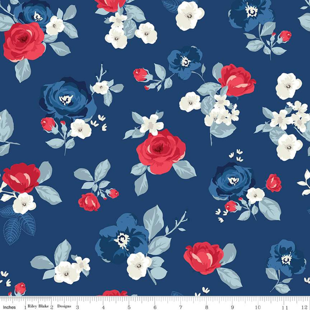 Riley Blake Land of Liberty Floral on Navy Quilting Cotton