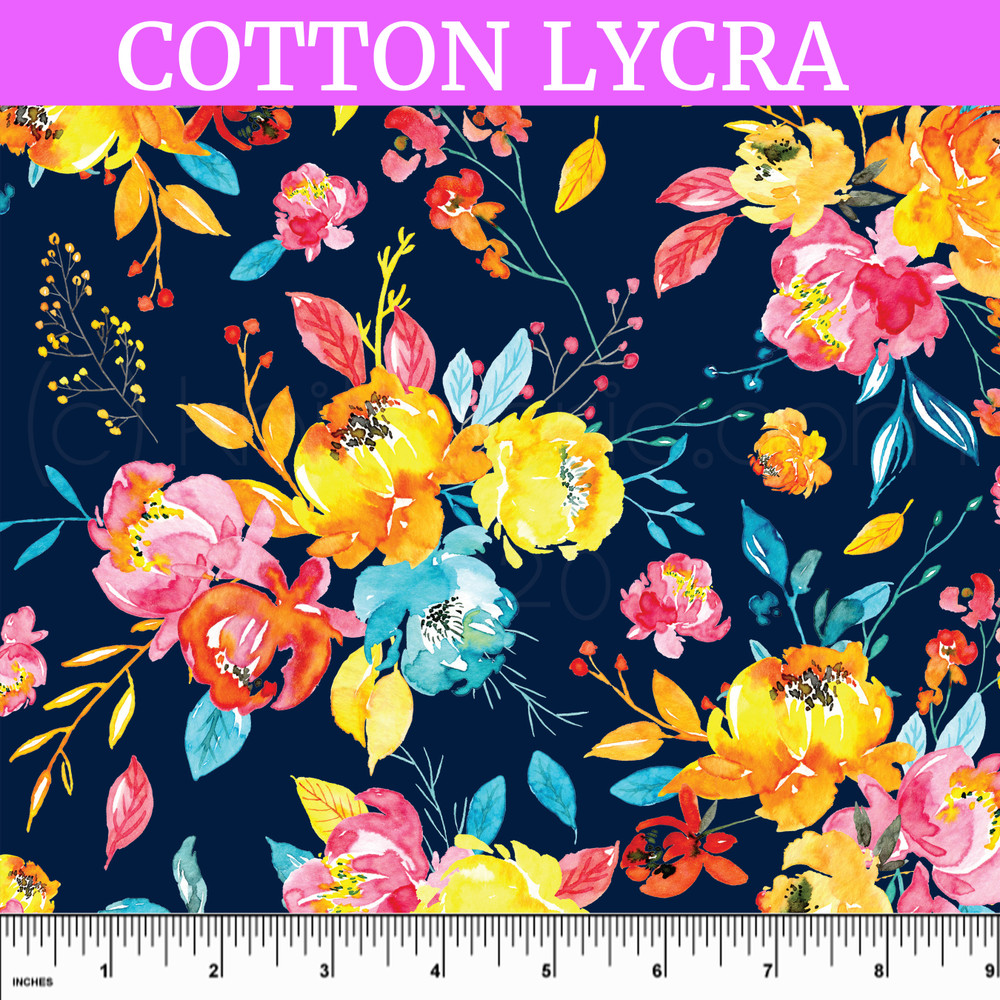 Custom Bright Bloom on Navy Cotton Lycra Knit