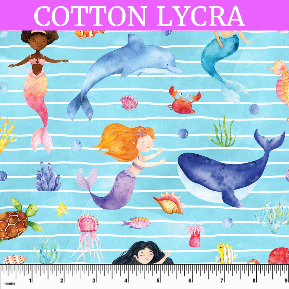 Custom Mermaids and Friends Cotton Lycra Knit