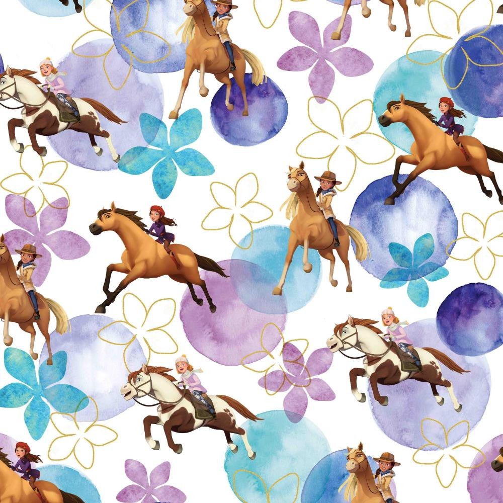 Spirit Horses with Bubbles & Flowers on White Cotton Lycra Knit